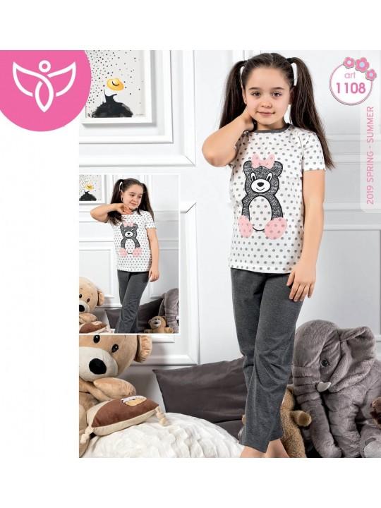 Дамска и детска пижама с къс ръкав Sweet Bear в комплект