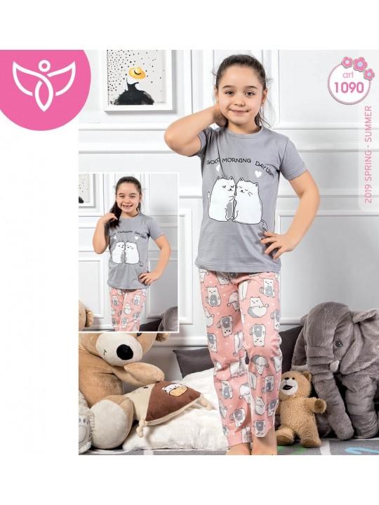 Дамска и детска пижама в комплект Inlove Cats с къс ръкав