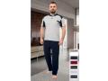 """Мъжка пижама с къс ръкав """"Grey&Blue"""" - 100% Памук"""