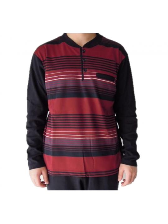 Мъжка зимна пижама от Памук в бордо
