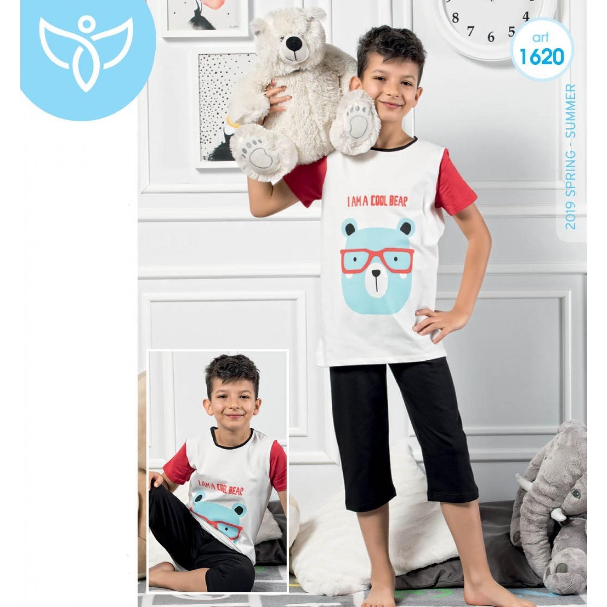 """Детска пижама за момче 3/4 """"Cool Bear"""" - 100% Памук"""