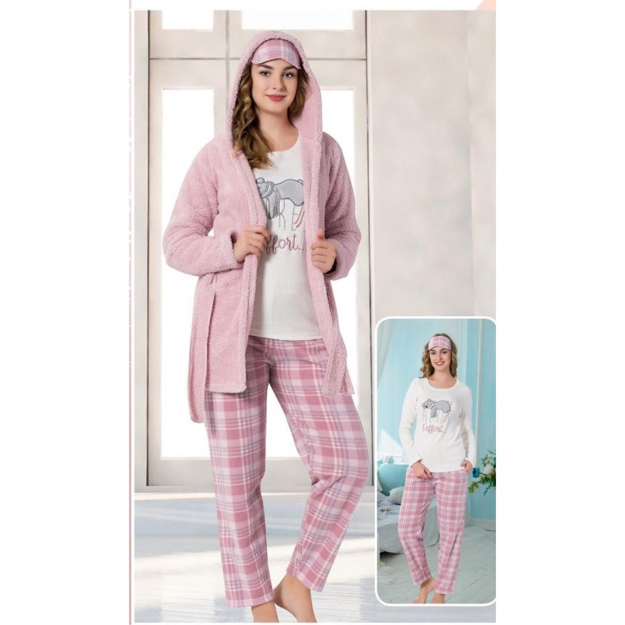 Дамска пижама Animal с домашен халат от полар