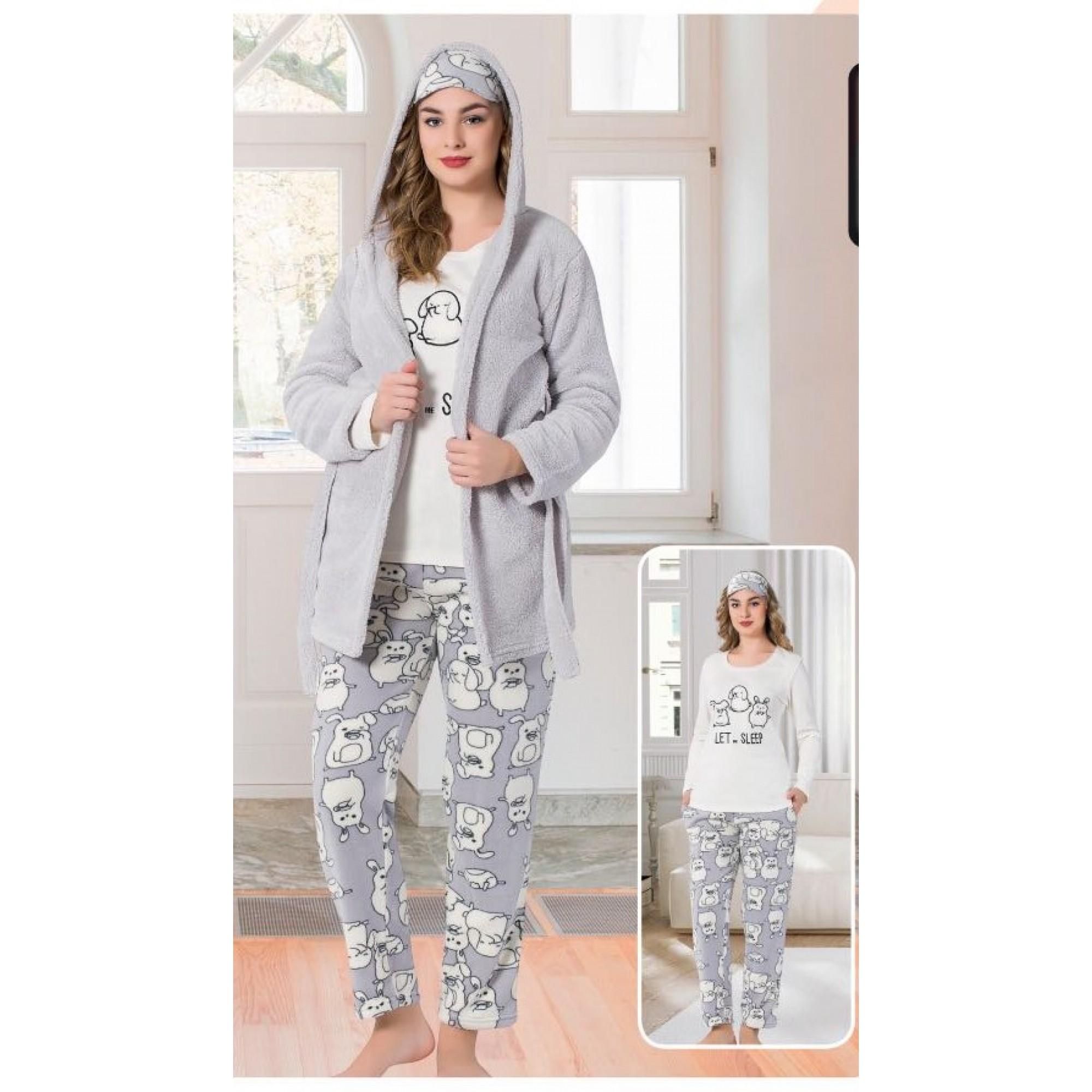 Дамска пижама  Bunny с домашен халат от мек полар