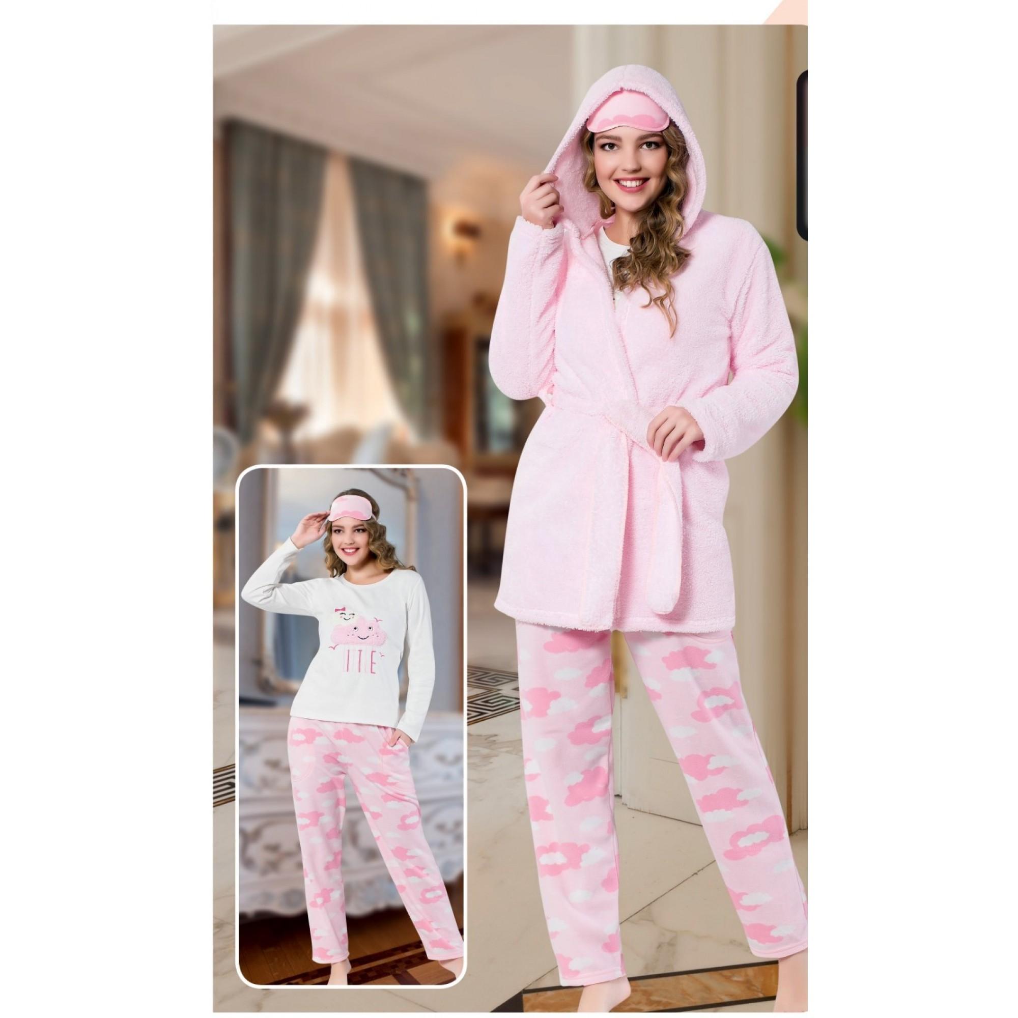 "Дамска пижама "" Pink cloud"" + домашен халат - Полар"