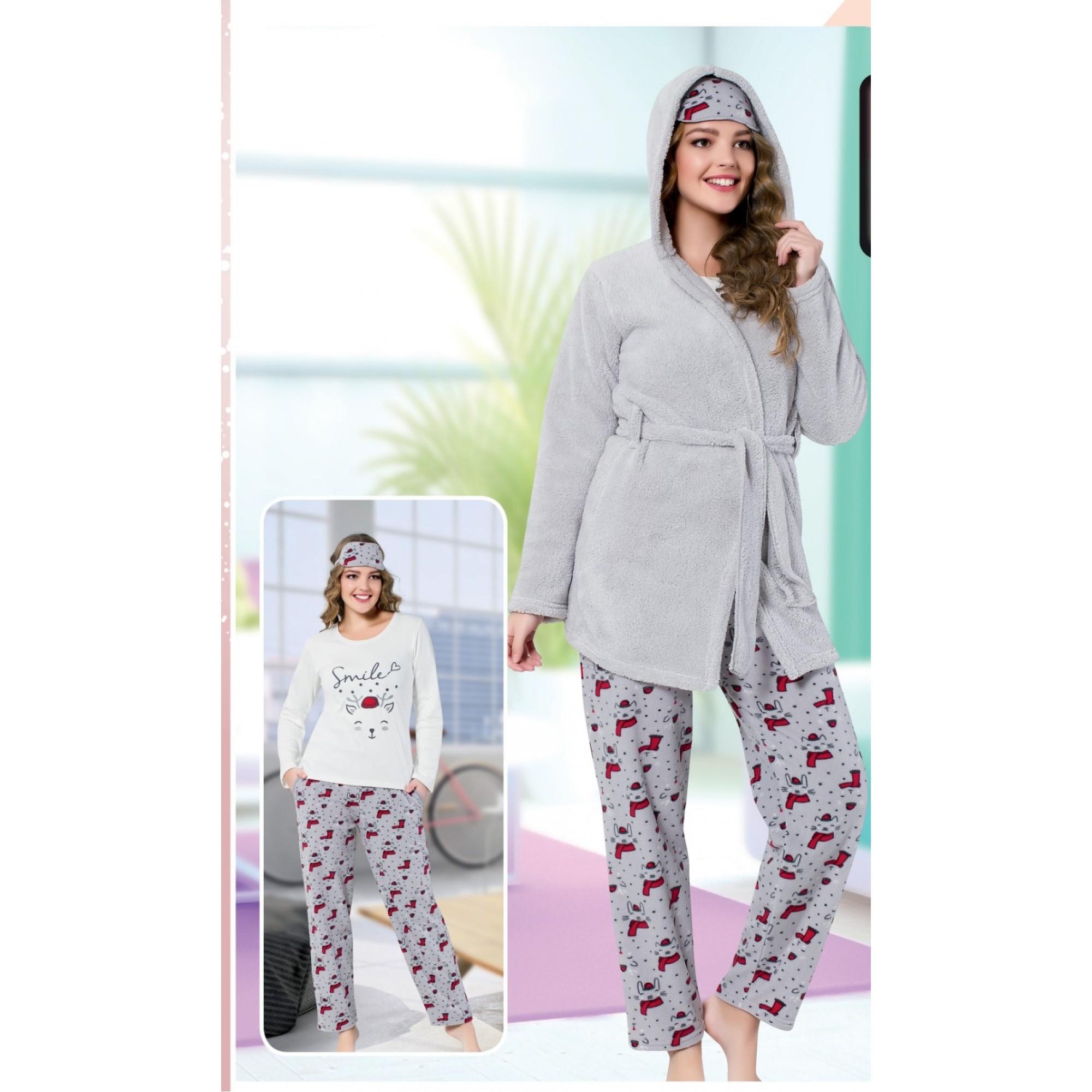 """Дамска пижама """" Smile Kitty"""" + домашен халат - Полар"""