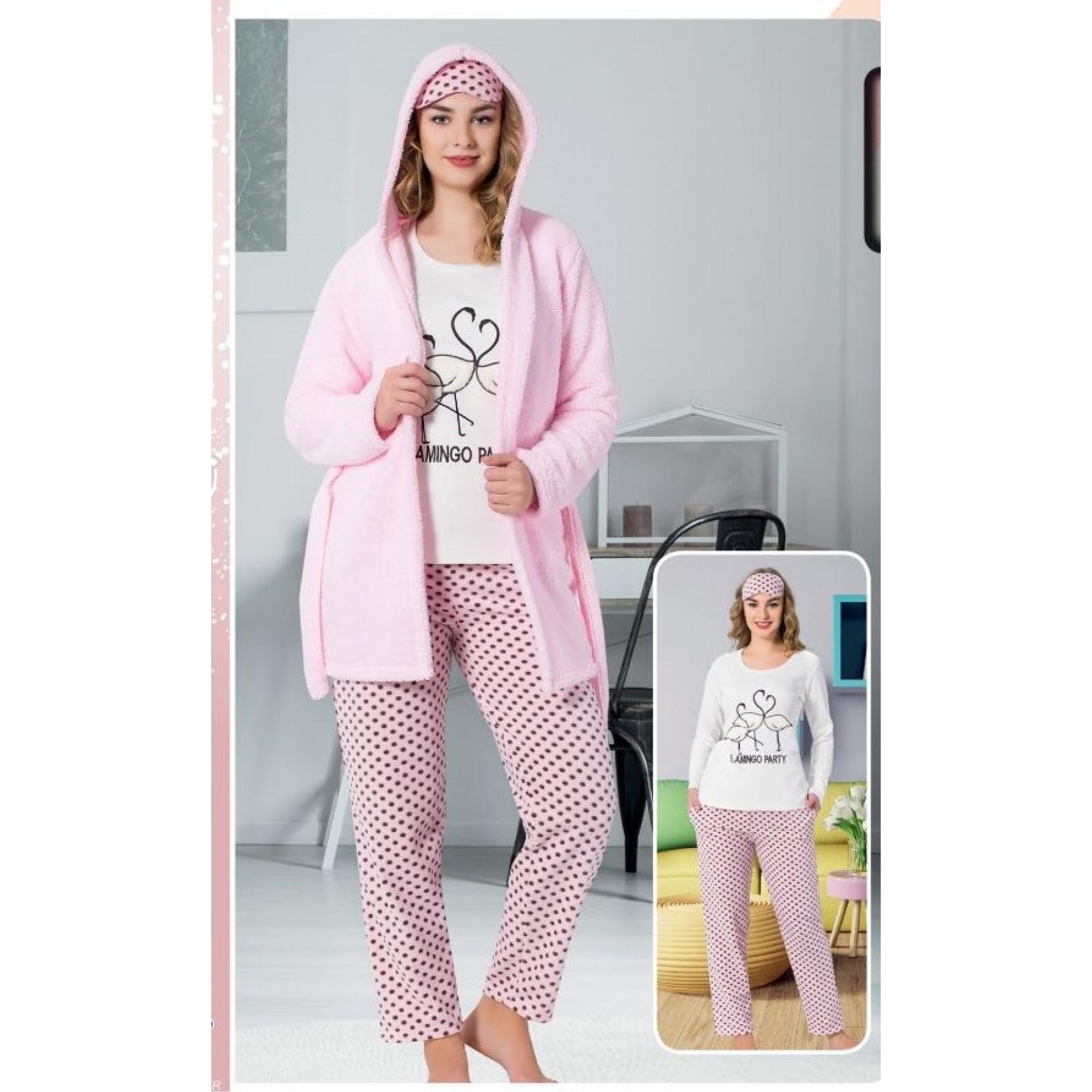 "Дамска пижама ""Flamingo"" + домашен халат - Полар"