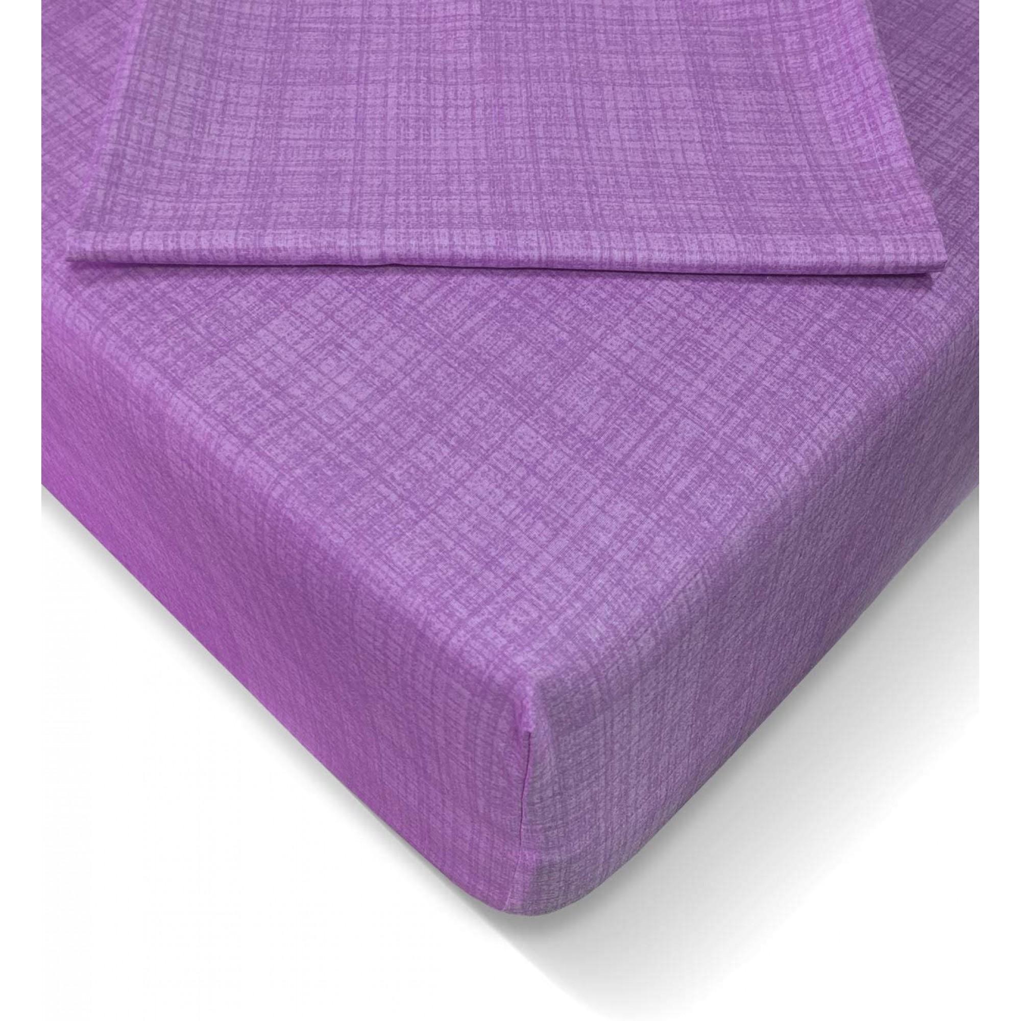 """Чаршаф с ластик """"Purple"""" Ранфорс + калъфки цип"""