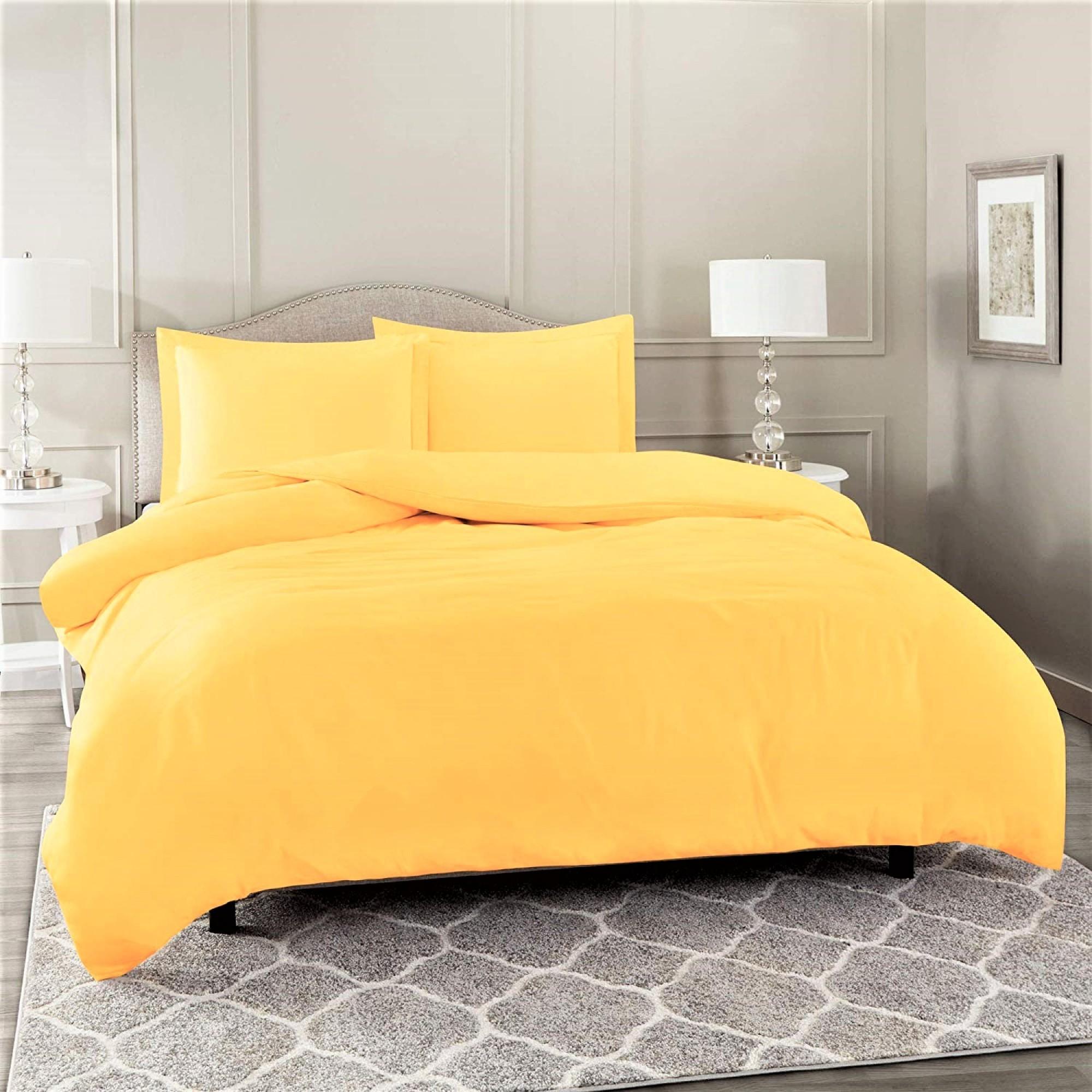 Спално бельо за единично легло от Ранфорс в жълто