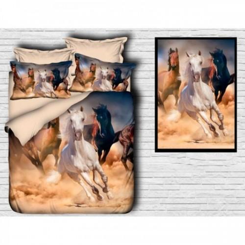 Спално бельо от ранфорс 3D Horses