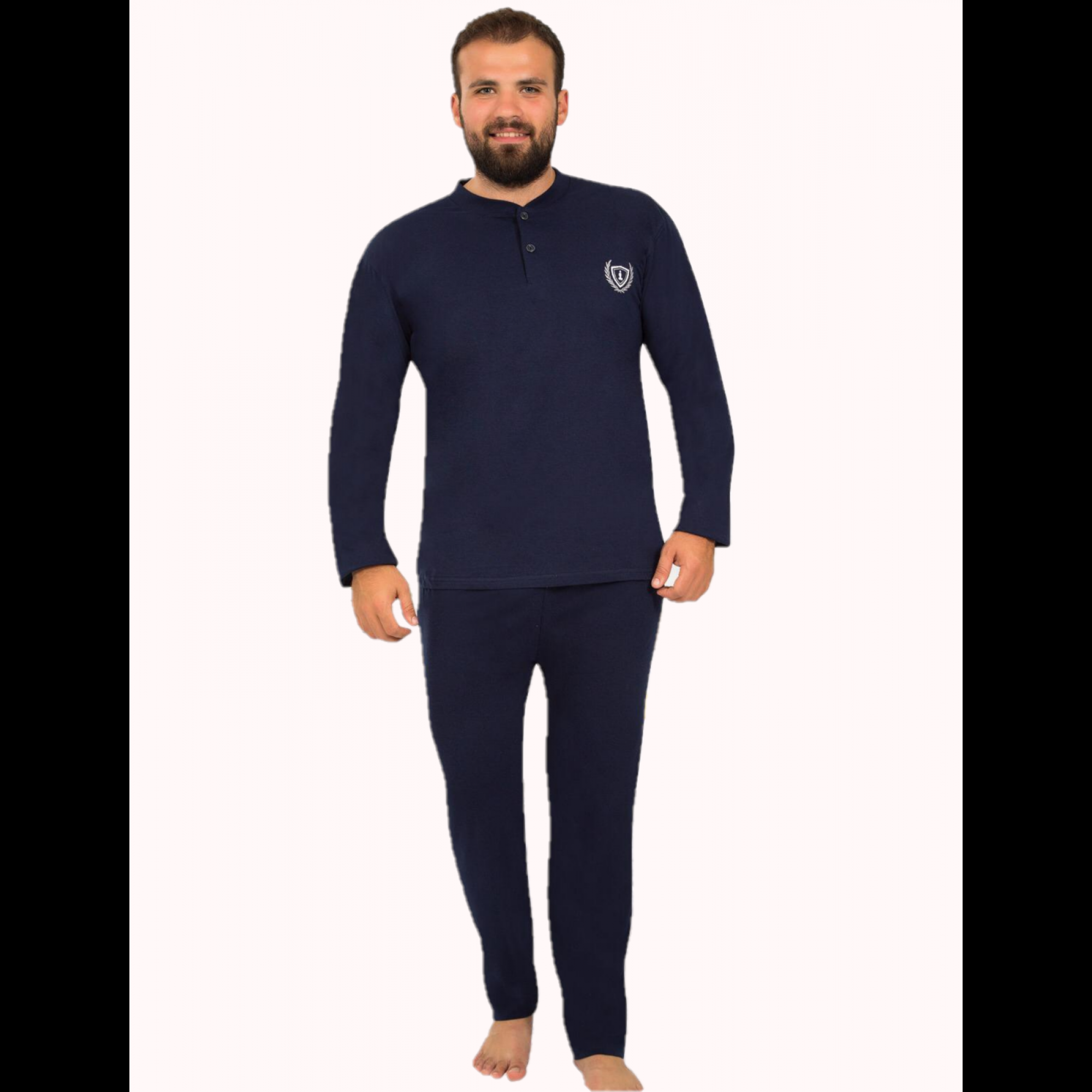 Мъжка ватирана пижама с малка бродерия