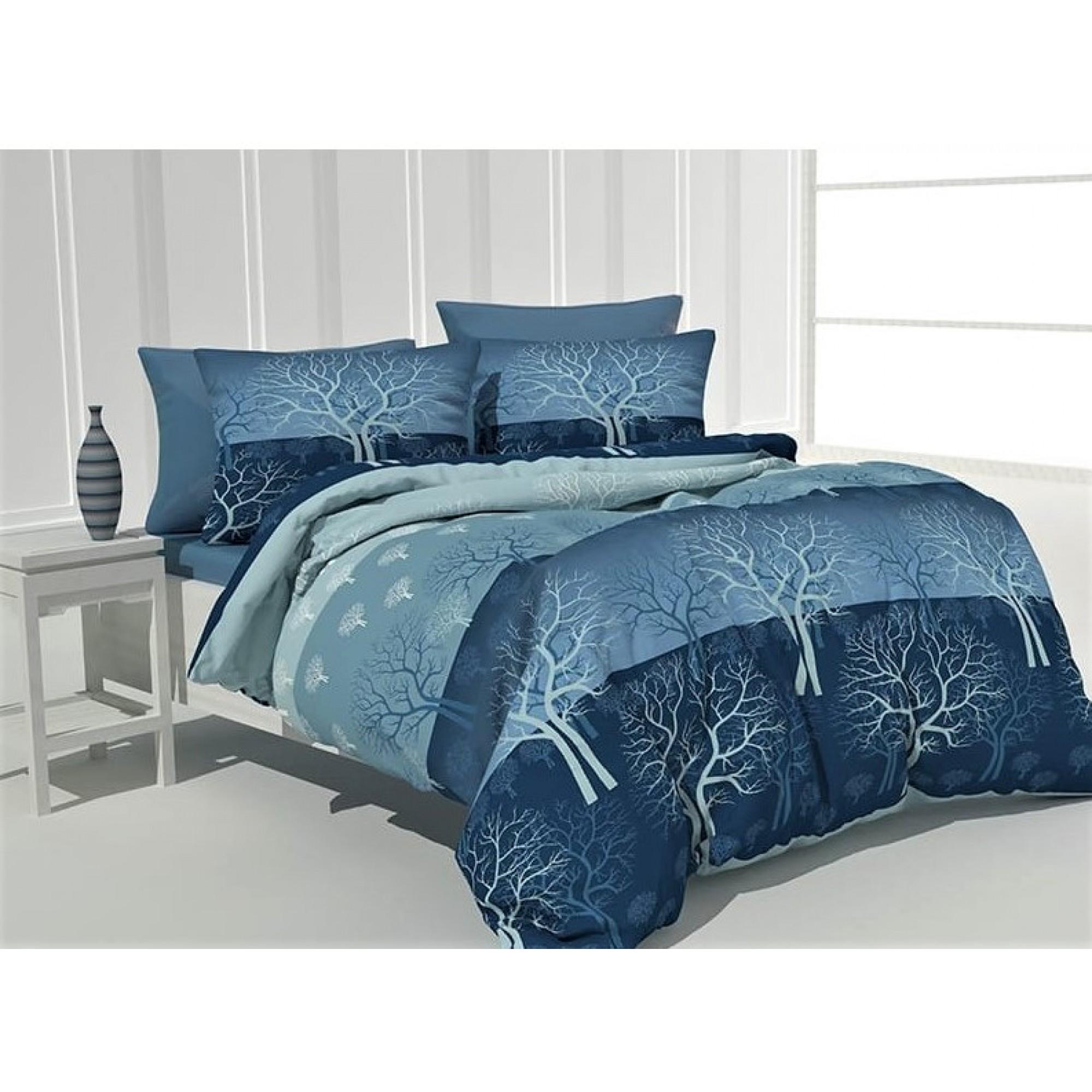 Спално бельо 100% Памучно хасе Дръвче в синьо